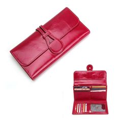 Women Genuine Leather Trifold Long Wallet Money Purse Card Holder Phone Bag for under 6 inches Phone