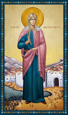 Icon of Saint Genevieve of Paris Religious Icons, Religious Art, St Genevieve, Auxerre, Prayer And Fasting, Byzantine Icons, Orthodox Christianity, Art Icon, Daughter Of God