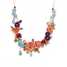 Les Néréides - Bouquet of winter's roses and birds necklace