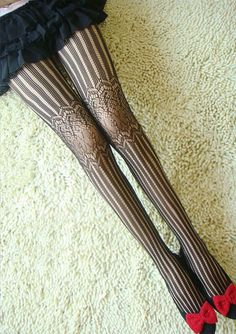 Stripe and Pattern Print Black Tights