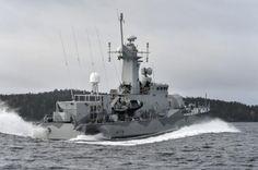 A Swedish corvette patrol in the archipelago of Stockholm, October 20, 2014.