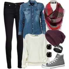 Take away the denim and the scarf, and this outfit is perfect!