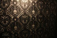 [Skeleton Damask wall stencil