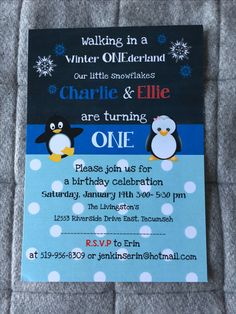 Invitations by The Paper Bride • custom order? Contact me today www.facebook.com/ThePaperBrideConsultantRebecca Invitation Design, Invitations, Little Snowflake, Riverside Drive, Turning One, Winter Onederland, Livingston, Birthday Celebration, Rsvp