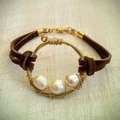 Leather Guitar String and Pearl Bracelet by JennyHallArt on Etsy