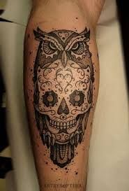 sugar skull tattoo black and white owl - Google Search