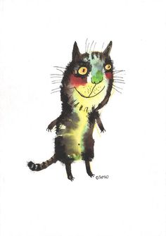 The extravert cat original painting by ozozo by ozozo on Etsy, €40.00