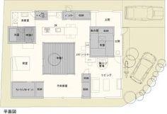 【間取り図】薪ストーブのある中庭住宅