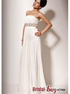 Buy Custom Made High Quality Elegant Strapless Coloumn Rhinstone Affordable Long White/Blue Chiffon Evening Dresses/Prom Dresses Under 200 ED-20815 at wholesale cheap prices from Bridal-Buy.com