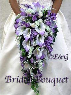 ANGIE PURPLE silk flowers babies breath roses calla lilies ivy bouquets bow ribbon satin stephanotis pearls, blossoms, rosebuds, diamond