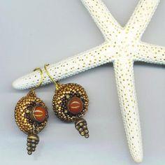 Beadwoven Carnelian Earrings . Beaded Pierced by enchantedbeads