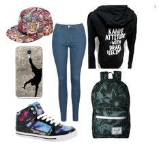 """""""Only slightly ratchet"""" by keekeemax on Polyvore featuring Topshop, Gotta Flurt, Casetify and Herschel Supply Co."""