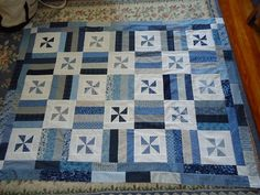 Scrappy Pinwheel Quilt, very similar to Jim's yellow and blue quilt; always a winner!