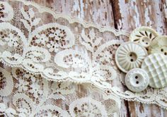 Shabby Chic Vintage Ivory Lace