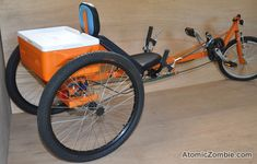 DIY recumbent trike. TimberWolf has a full range of gears for speed and hill climbing.