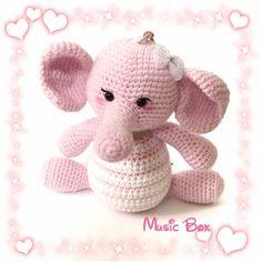 Music Box Musical Plush Amigurumi Pink Elephant by AmiAmiGocco