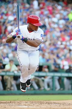 Adrian Beltre hops out of the way of a pitch by Colorado Rockies starting pitcher Jorge De La Rosa in the first inning during a game between the Colorado Rockies and the Texas Rangers at Globe Life Park in Arlington, Texas Wednesday August 10, 2016. (Andy Jacobsohn/The Dallas Morning News)