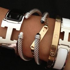 Hermes H bracelets, Hermes clic clac and david yurman stack