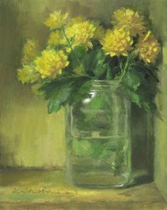 """Yellow Mums"" - Original Fine Art for Sale - © Linda Jacobus"