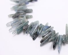natural kyanite tumbled bead sticks green blue by 4ophelia on Etsy, $7.50