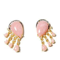 Rarities Pink Opal & White Zircon Vermeil Earrings