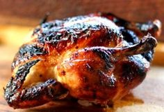 Honey Glazed Lemon Roast Chicken sub honey, using with cornish game hen