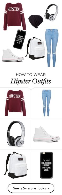 """Hipster outfit"" by ashtian22 on Polyvore featuring Pull&Bear, JanSport, Beats by Dr. Dre, Coal, New Look, Converse and Casetify"