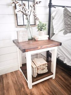 Farmhouse night stand wooden nightstand nightstand rustic nightstand bedroom nightstand side table end table living room farmhouse Rustic Nightstand, Rustic Furniture, Home Furniture, Wooden Furniture Bedroom, Furniture Stores, Cheap Furniture, Nightstand Ideas, Antique Furniture, Bedside Table Ideas Diy