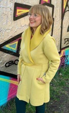 Damen mit Size und One Schalkragen Mantel Gürtel Nackt 354ARjL