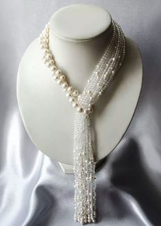 Pearls tassel necklace with rock crystal Waterfall Perlen Quaste Halskette mit Bergkristall Wasserfall Pearl Jewelry, Beaded Jewelry, Handmade Jewelry, Jewelry Necklaces, Jewellery, Pearl Necklaces, Crystal Necklace, Silver Jewelry, Bijoux Design