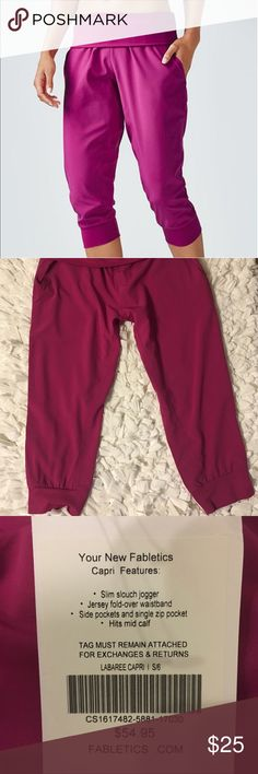 Fabletics Labaree Magenta Purple Yoga Capris Sm. Fabletics Labaree Magenta Purple Yoga Capris. Slim slouchy jogger with fold over jersey waist band.  Brand new with tags.  Size small/6. Fabletics Pants Capris