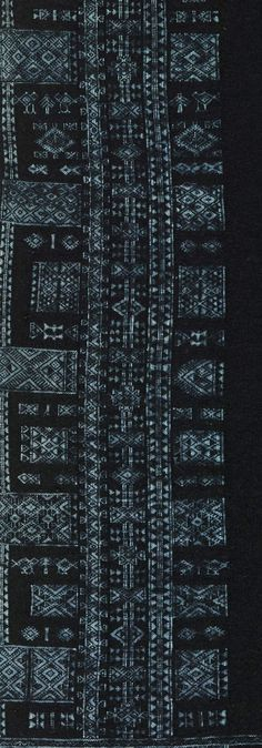 Africa | Detail from a woman's Cover ~ Bakhnouk ~ Berber people, Tunisia | Early 20th century | Wool and cotton, indigo dyed