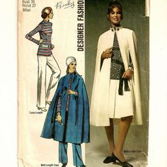Simplicity 9211, A Midi-Cape, A-Line Skirt, Straight Leg Pants, and Long Sleeve, Roll Collar Tunic Pattern by So Sew Some!