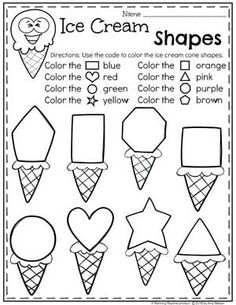 Preschool Shapes Worksheets – Ice Cream Theme - Life and hacks Preschool Learning Activities, Preschool Shapes, Preschool Lessons, Toddler Learning, Preschool Classroom, Kindergarten Worksheets, Preschool Activities, Shape Worksheets For Preschool, Summer Preschool Themes