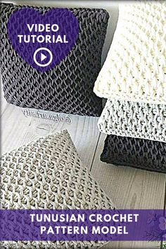 Crochet Pattern Model - Best Knitting - Diy Crafts - The Knitting Time - Diy Crafts Crochet Pillow Patterns Free, Tunisian Crochet Patterns, Easy Crochet Blanket, Crochet Motif, Knitting Patterns, Diy Crafts Crochet, Crochet Cushions, Crochet Videos, Crocheting