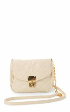 Deb Shops Small Quilted Crossbody Bag with Flap Closure $15.00