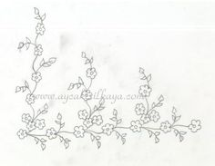 desen2 Cute Embroidery Patterns, Border Embroidery Designs, Embroidery Transfers, Vintage Embroidery, Floral Drawing, Gold Work, Heirloom Sewing, Silk Ribbon Embroidery, Point Lace