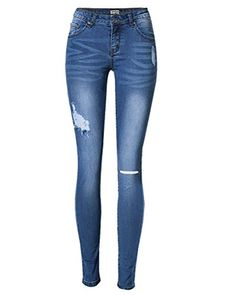 Donna MANGO Noa strappato skinny vita alta Jeans Nero da Donna in Denim Jeggings