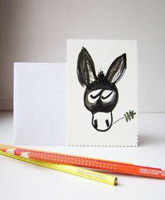 grey donkey greetings card, postcard