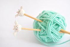 Set Two Knitting Bamboo Needles Ceramic White Vampire Top.
