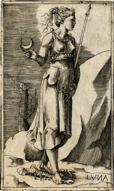 """""""luna"""" - print made by giulio bonasone (formerly attributed to georges reverdy), 1530-1570"""