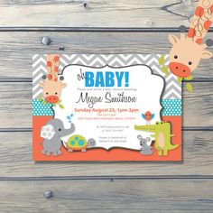 Yoo Hoo Baby Shower Animals Invitation Elephant Giraffe