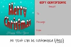 Merry Christmas and Happy New Year Christmas Gift Certificate Template, Certificate Templates, Gift Certificates, Happy Year, Merry Christmas And Happy New Year, Free Christmas Printables, Free Printables, Christmas Messages, Christmas Gifts