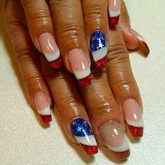 Fabulous Nails, Gorgeous Nails, Pretty Nails, July 4th Nails Designs, 4th Of July Nails, Acrylic Nail Designs, Acrylic Nails, Coffin Nails, Firework Nails