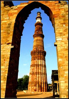 Qutub Minar - New Delhi, Delhi (Constructed with red sandstone and marble, and is the tallest minaret in India)