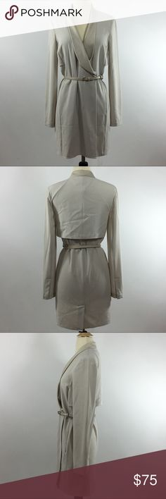 Halston Heritage Woman's Beige Belted Trench Dress Halston Heritage Woman's Beige Tan  Belted Trench Wrap Dress. Size 0. Unlined. On seam pockets . No major flaws or defects.   Bust 34 inches  Waist 28 inches  Hips 33 inches  Shoulders 15 inches  Sleeve length 24 inches  Total length 34 inches Halston Heritage Dresses