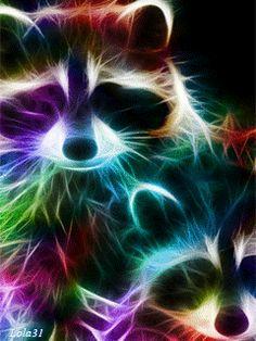 Colorful neon raccoon