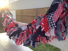 patriotic rag-tie bunting banner / scrappy garland / red white and blue / 4th of July / Memorial Day / Labor Day / summer decor / America / USA / Americana / gingham / chevron / houndstooth / porch decor / seasonal