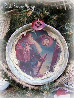 Rusty Rooster Vintage: Vintage Mason Jar Lid Ornaments