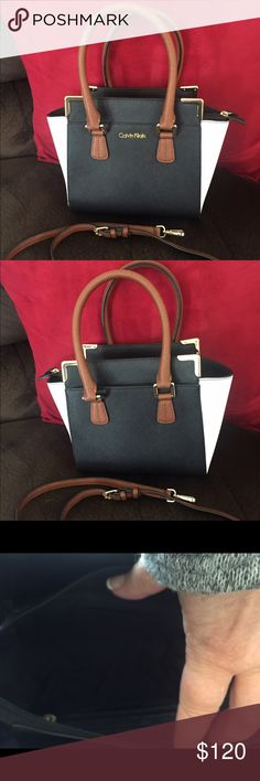 Calvin Klein colorblock saffiano crossbody tore . Beautiful purse. Worn once. In like new condition Calvin Klein Bags Totes